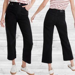Madewell Black Slim Wide Leg Crop Jeans
